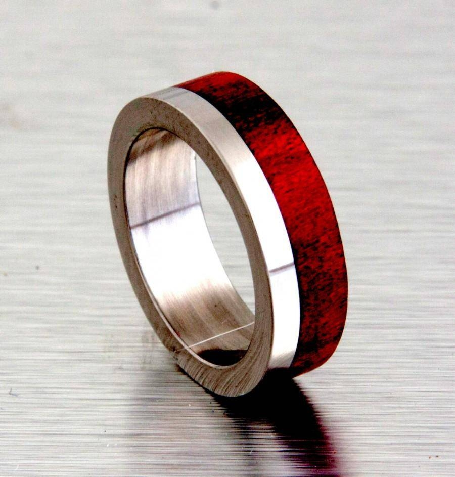 Titanium Wedding Ring With Red Heart Wood Inlay Off Set #2503453 With Red String Of Fate Wedding Rings (View 15 of 15)