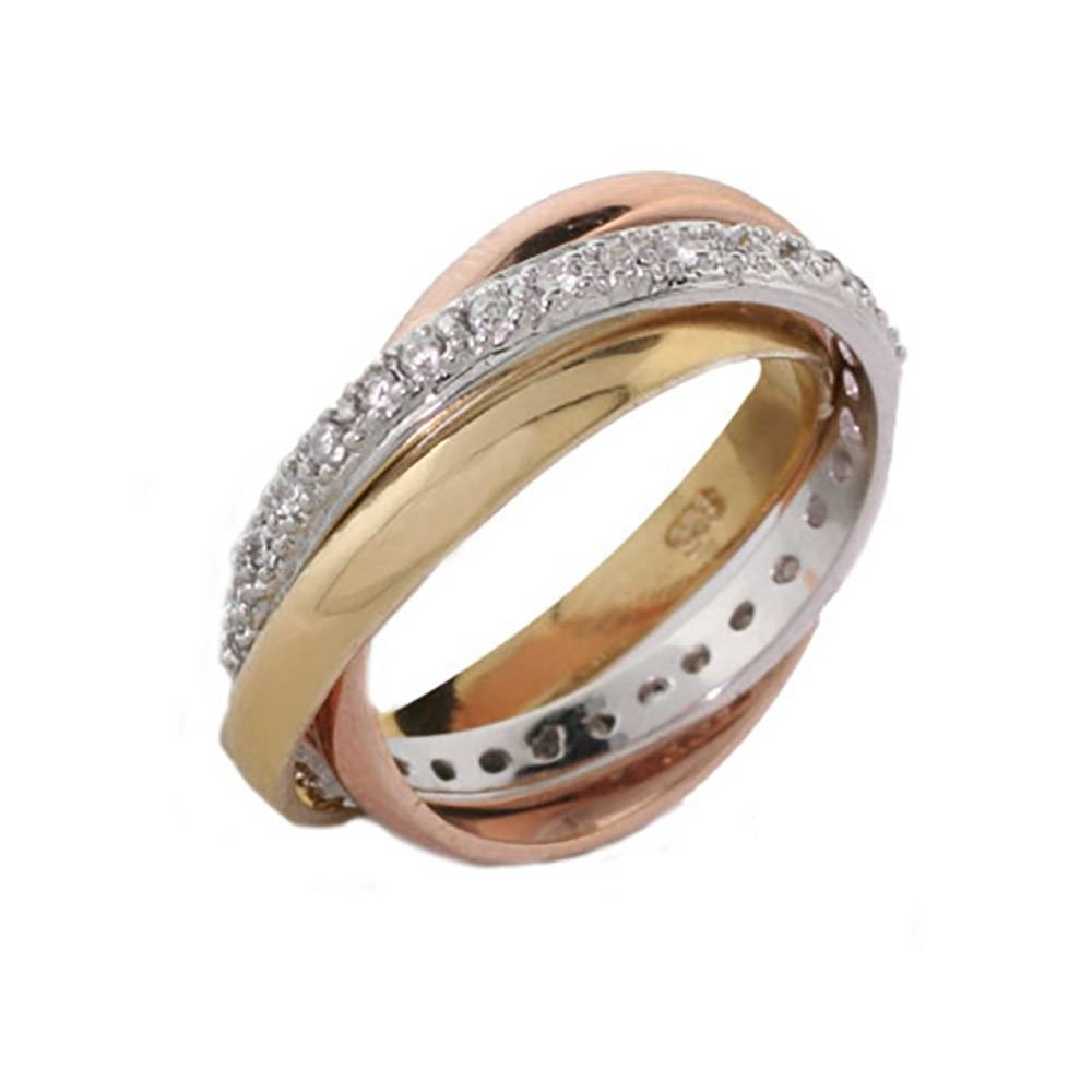 Tone Russian Wedding Ring With Cz Band | Eve's Addiction® With Russian Wedding Rings (View 15 of 15)