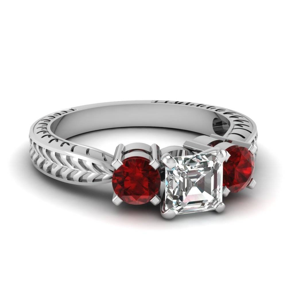 Top Styles Of Ruby Engagement Rings | Fascinating Diamonds Inside Princess Cut Ruby Engagement Rings (View 12 of 15)