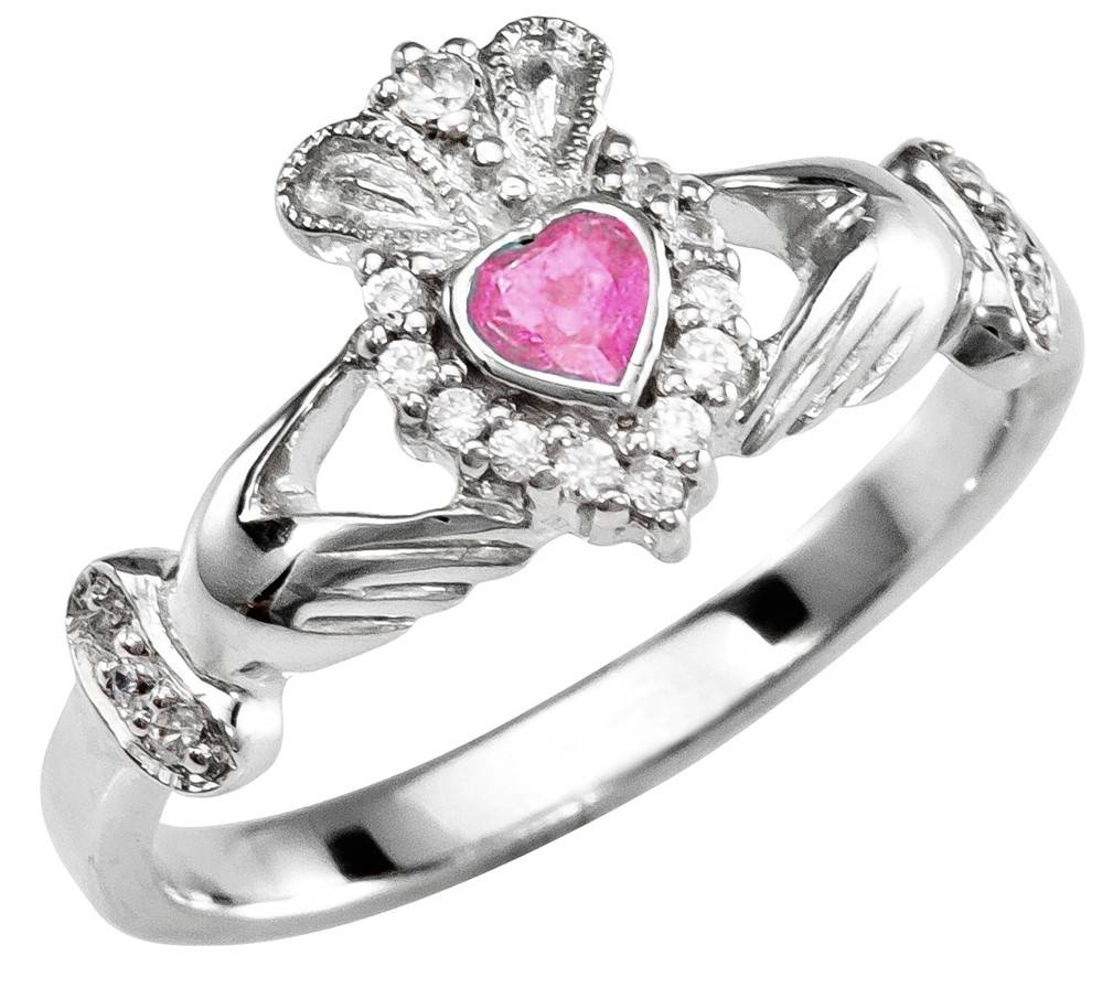 Tourmaline Diamond Silver Claddagh Ring – October Birthstone In October Birthstone Engagement Rings (View 12 of 15)