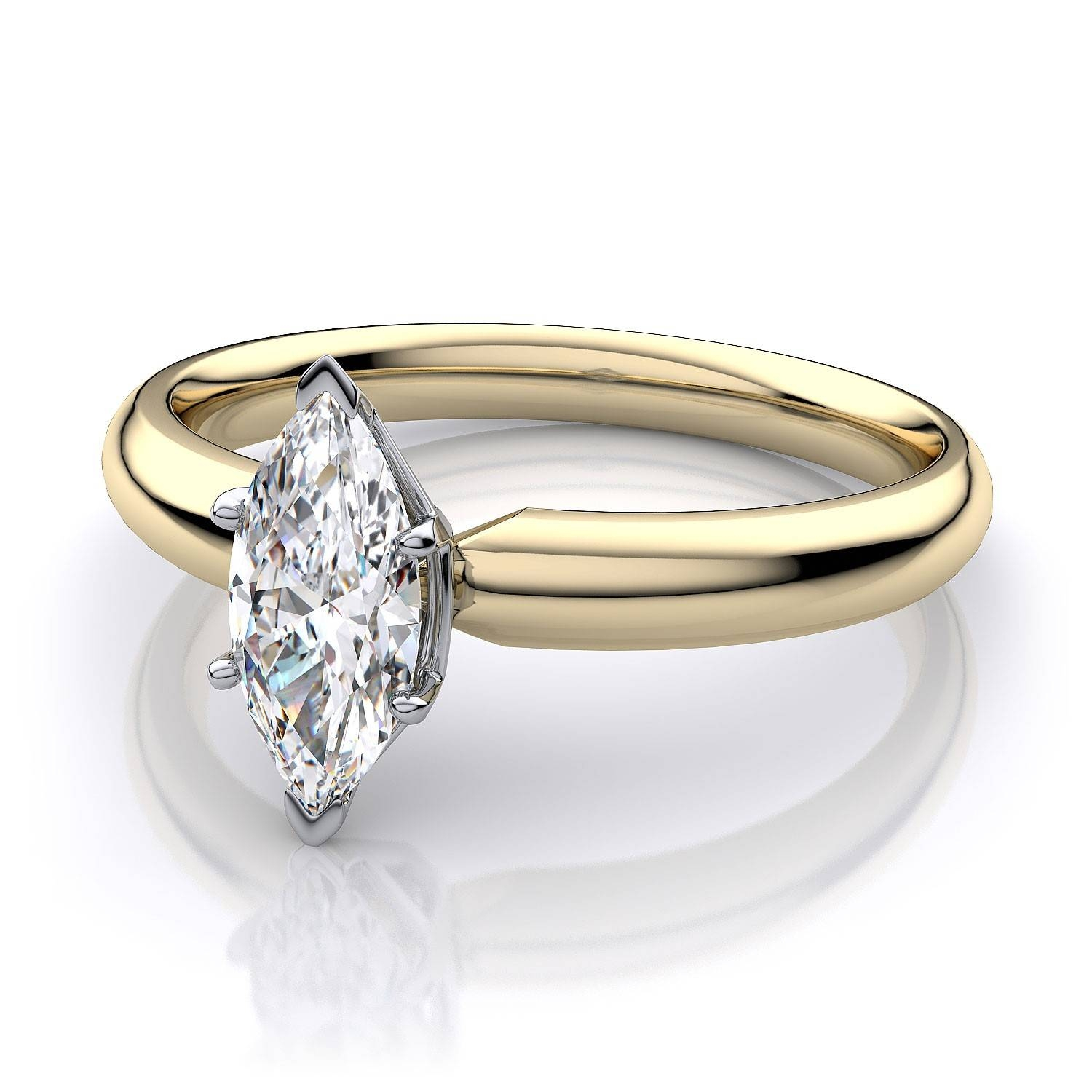 Traditional Marquise Diamond Engagement Ring In 18K Yellow Gold Inside Traditional Gold Engagement Rings (View 14 of 15)