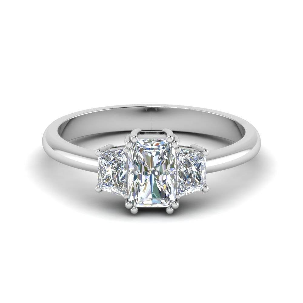 Trapezoid Radiant Cut Diamond Engagement Ring In 14K White Gold Throughout Radiant Wedding Rings (View 14 of 15)