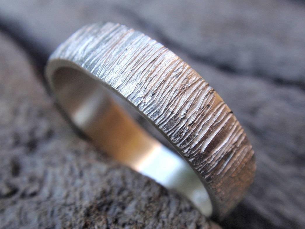 Tree Bark Wedding Band Ring Sterling Silver Wood Grain Regarding Wood Grain Wedding Bands (View 11 of 15)