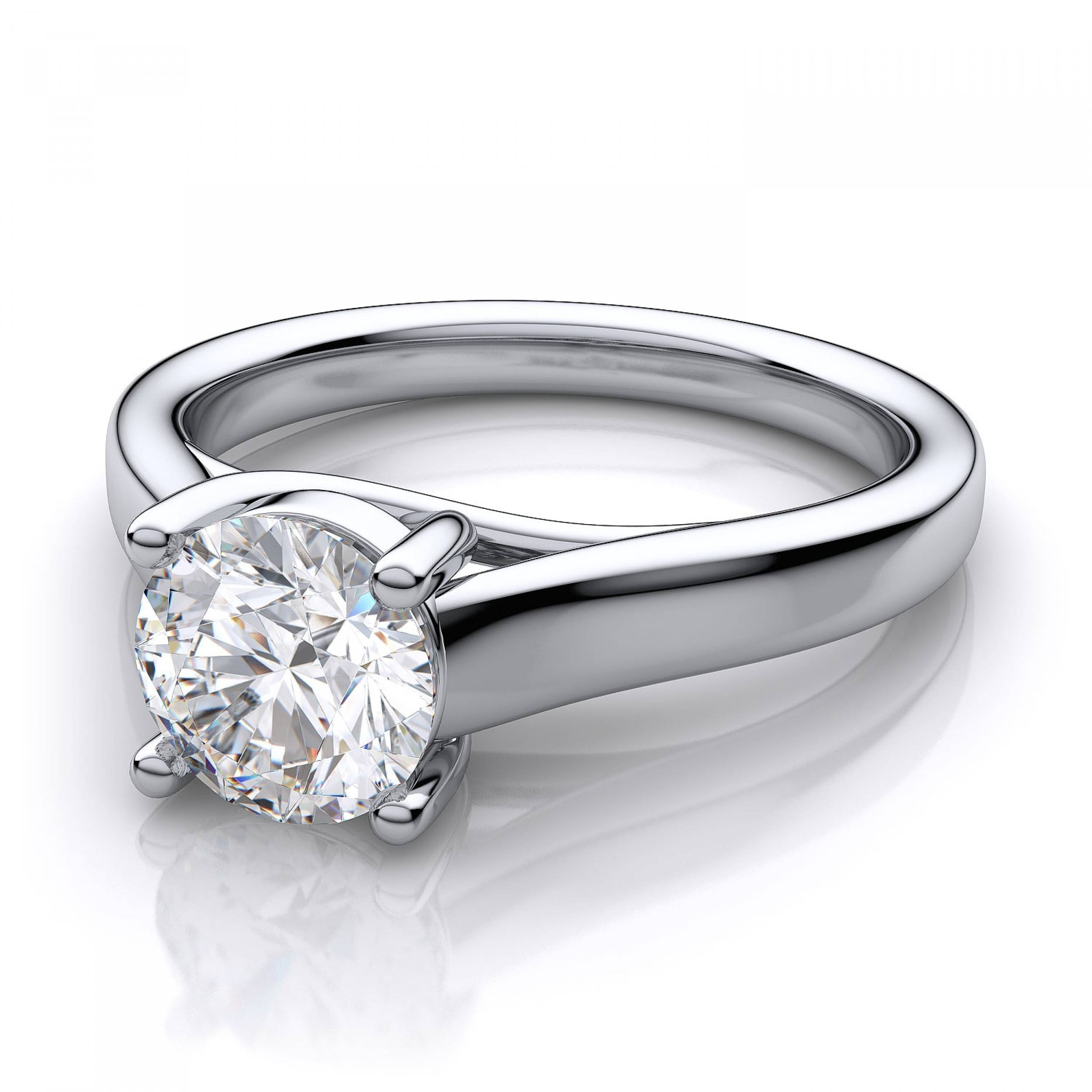Trellis Solitaire Engagement Ring – 18k White Gold With Engagement Rings 18k White Gold (View 7 of 15)