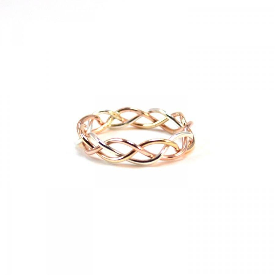 Tri Color Braided Ring. Alternative Wedding Band (View 15 of 15)