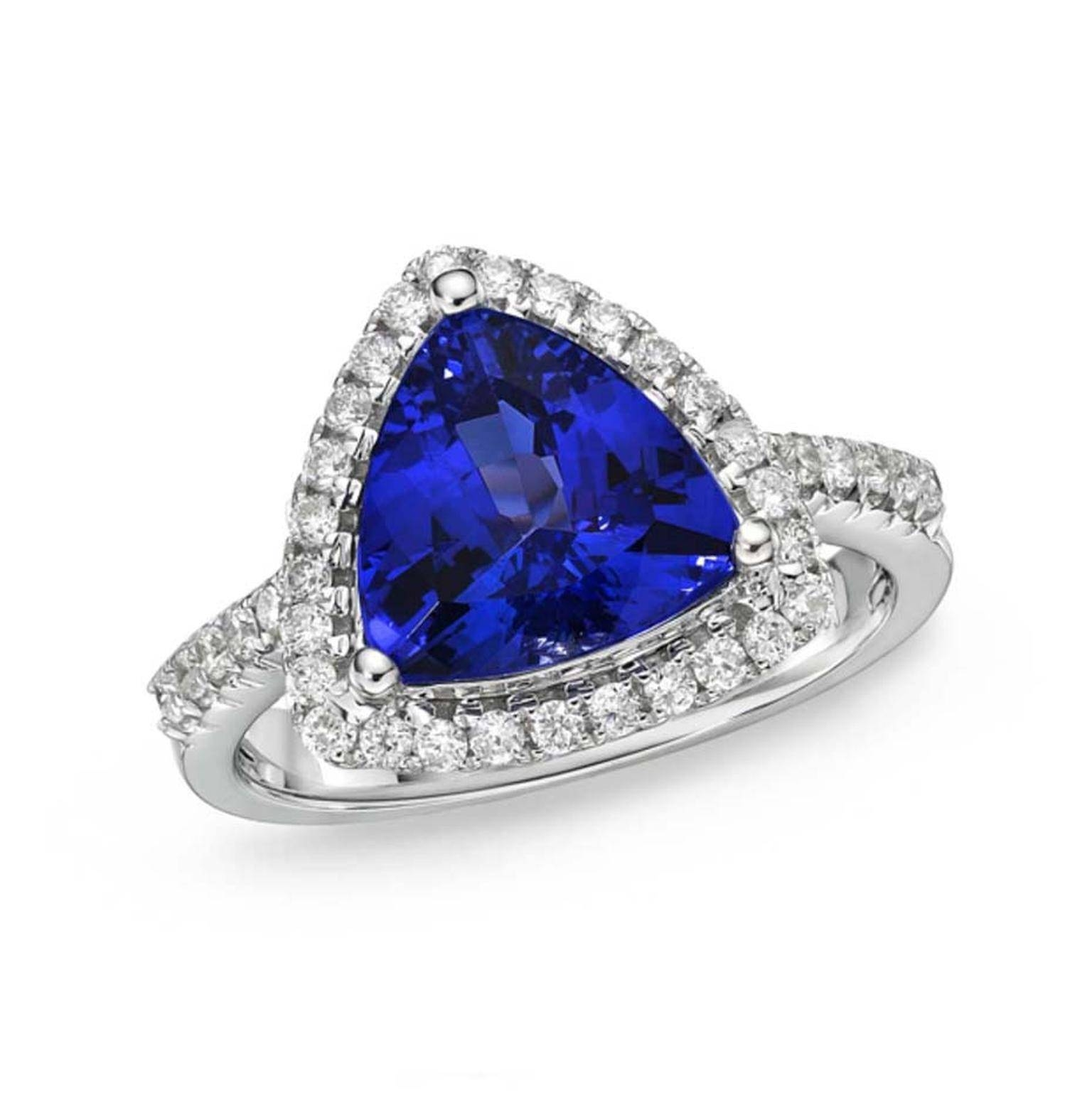 Trillion Cut Tanzanite Ring With Diamonds | Tanzaniteone | The Regarding Tanzanite Engagement (View 6 of 15)