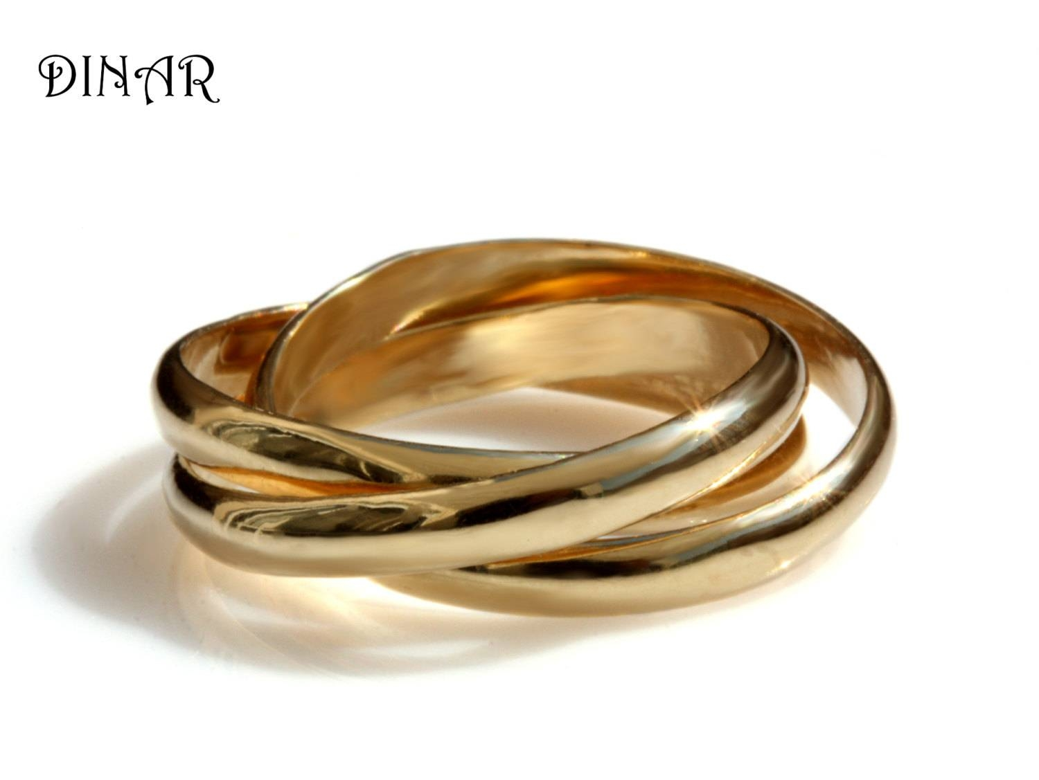 Trinity Wedding Band Intertwined Rolling Ring Three 3Mm Wide Throughout Intertwined Wedding Bands (View 12 of 15)