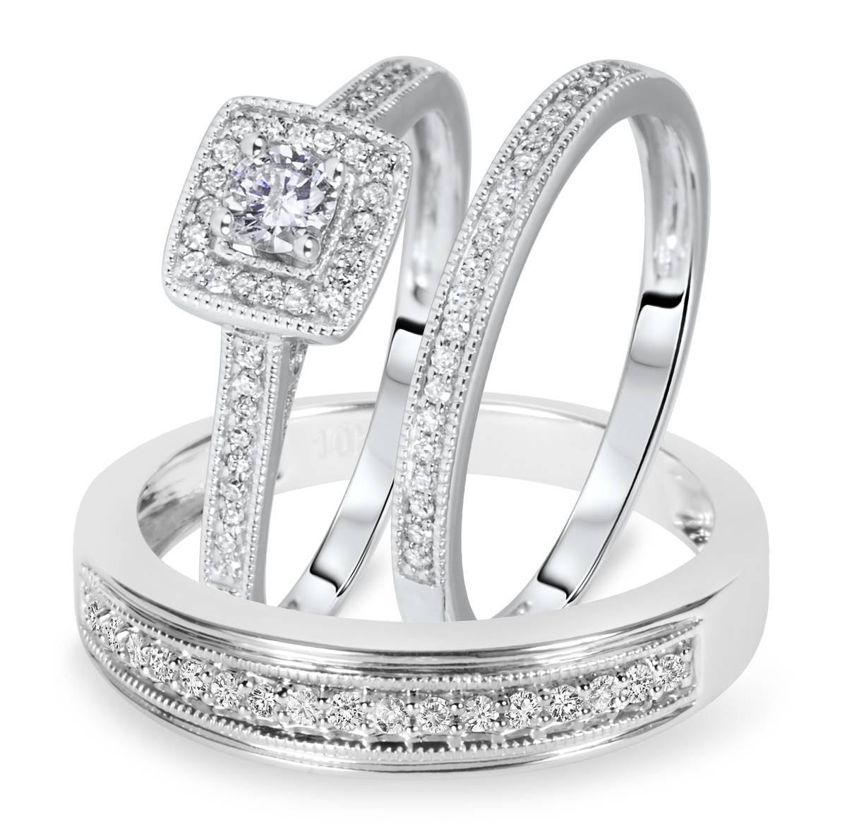Trio Wedding Ring Set 14k White Gold My Trio Rings Bt572w14k In White Gold Wedding Rings Sets (View 11 of 15)