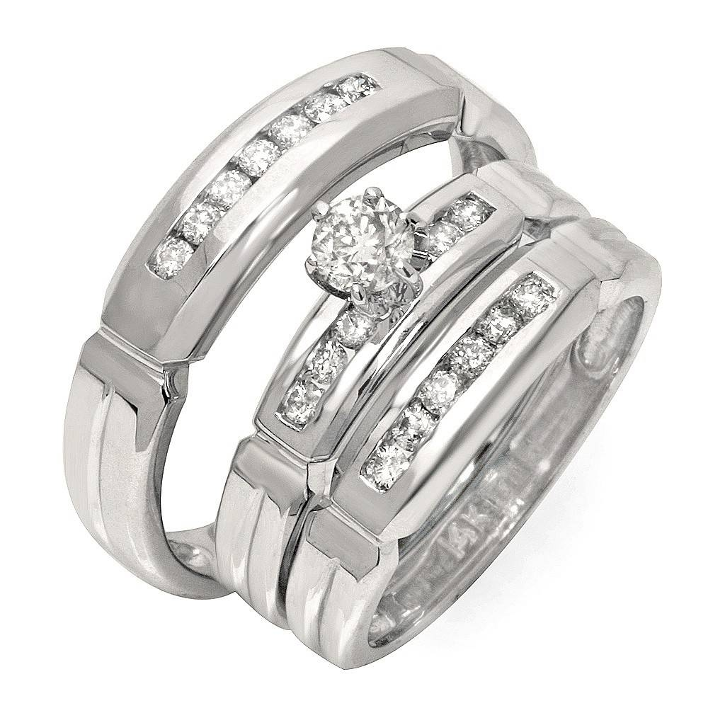 Trio Wedding Ring Sets, Trio Bridal Sets, Trio Wedding Sets With Regard To Engagement Ring Sets For Him And Her (View 14 of 15)