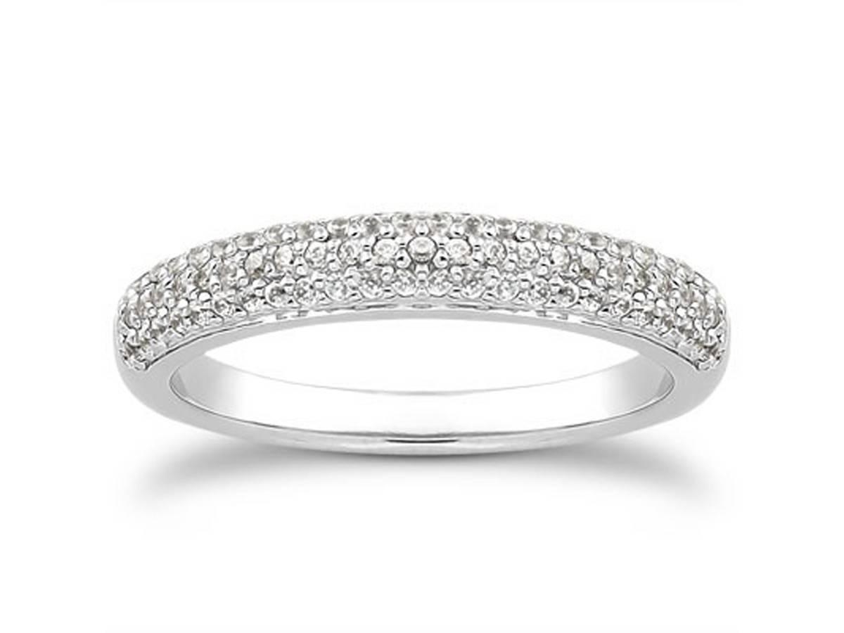 Triple Row Micro  Pave Diamond Wedding Ring Band In 14K White Gold Inside Pave Diamond Wedding Rings (Gallery 1 of 15)