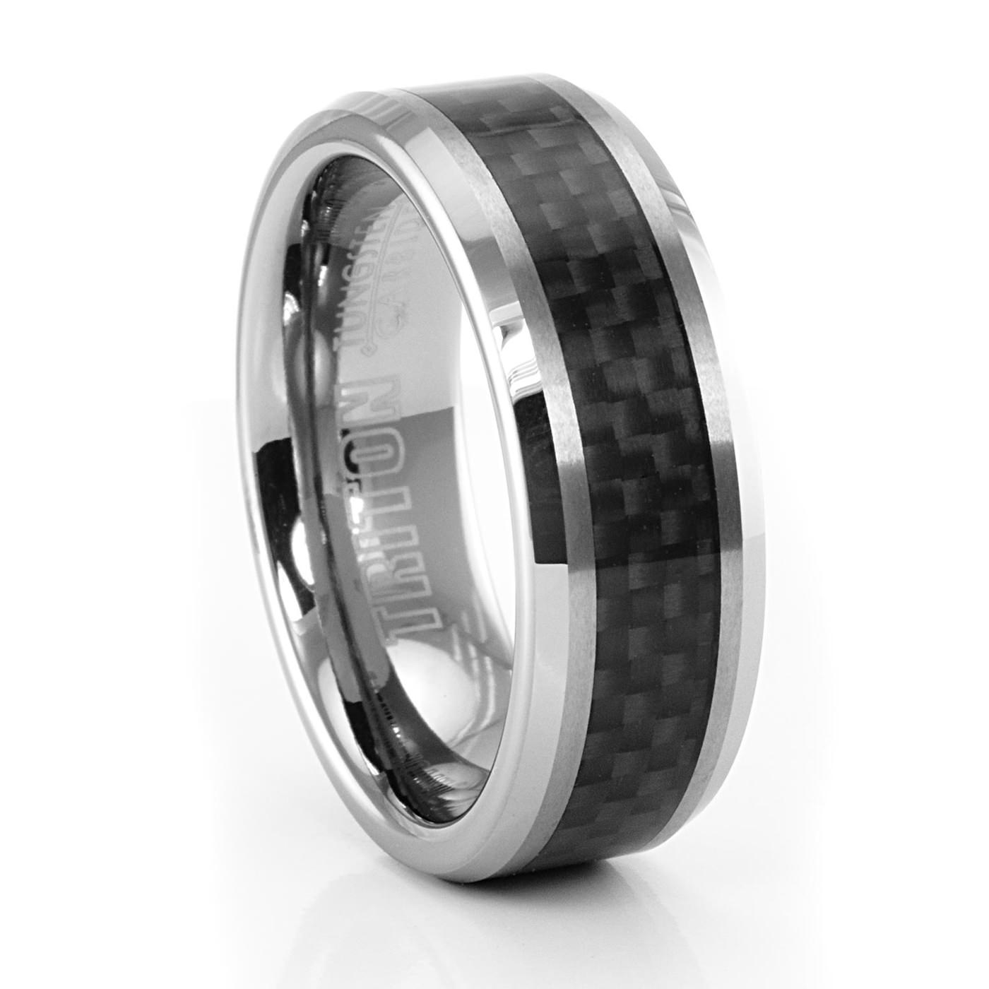 Triton Wilton Carbon Fiber & Tungsten Ring – 8Mm Regarding Mens Carbon Fiber Wedding Rings (View 14 of 15)