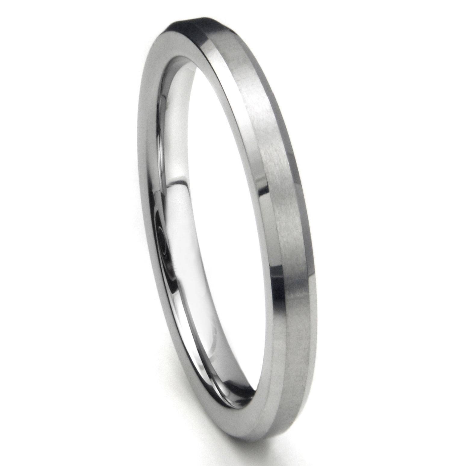 Tungsten Carbide 3mm Beveled Wedding Band W/ Brush Center Inside Tungsten Wedding Bands (View 12 of 15)