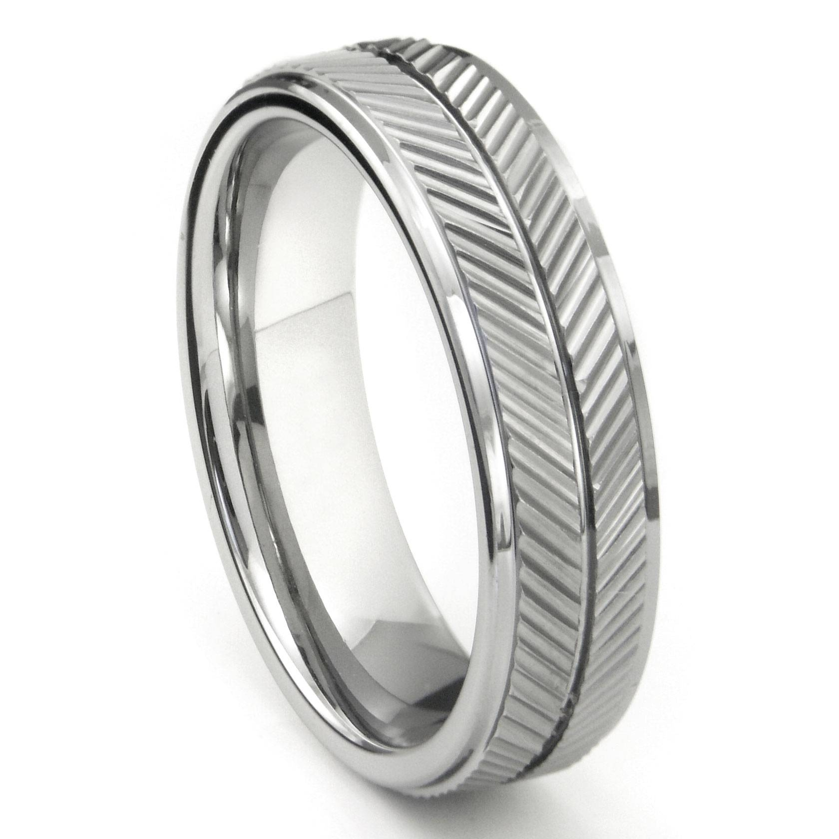 Tungsten Carbide 7Mm Diamond Cut Chevron Wedding Band Ring Pertaining To Chevron Wedding Bands (View 14 of 15)