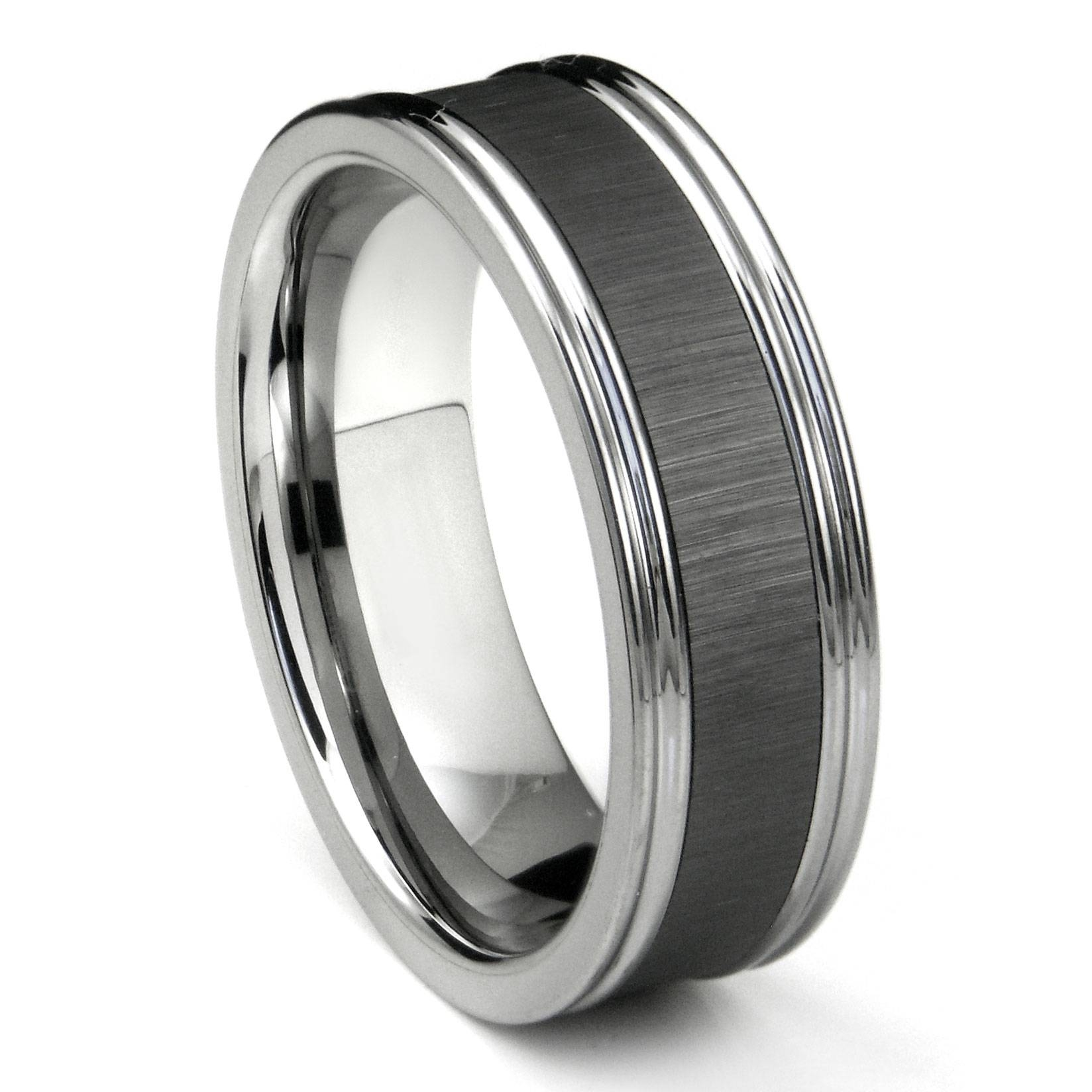 Tungsten Carbide Black Ceramic Inlay Wedding Band Ring W Intended For Tungsten Titanium Wedding Bands (View 8 of 15)