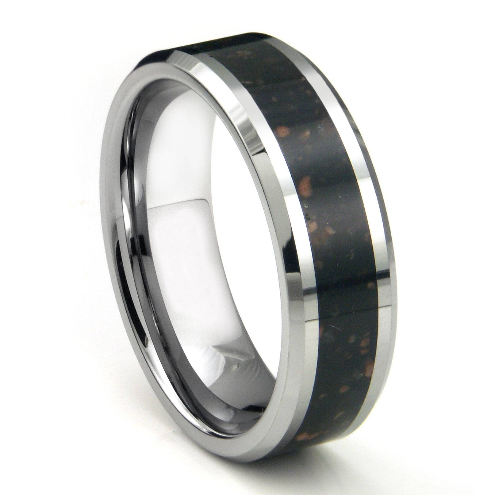 Tungsten Carbide Black Lava Riverstone Inlay Wedding Band Ring Regarding Strongest Metal Wedding Bands (View 4 of 15)