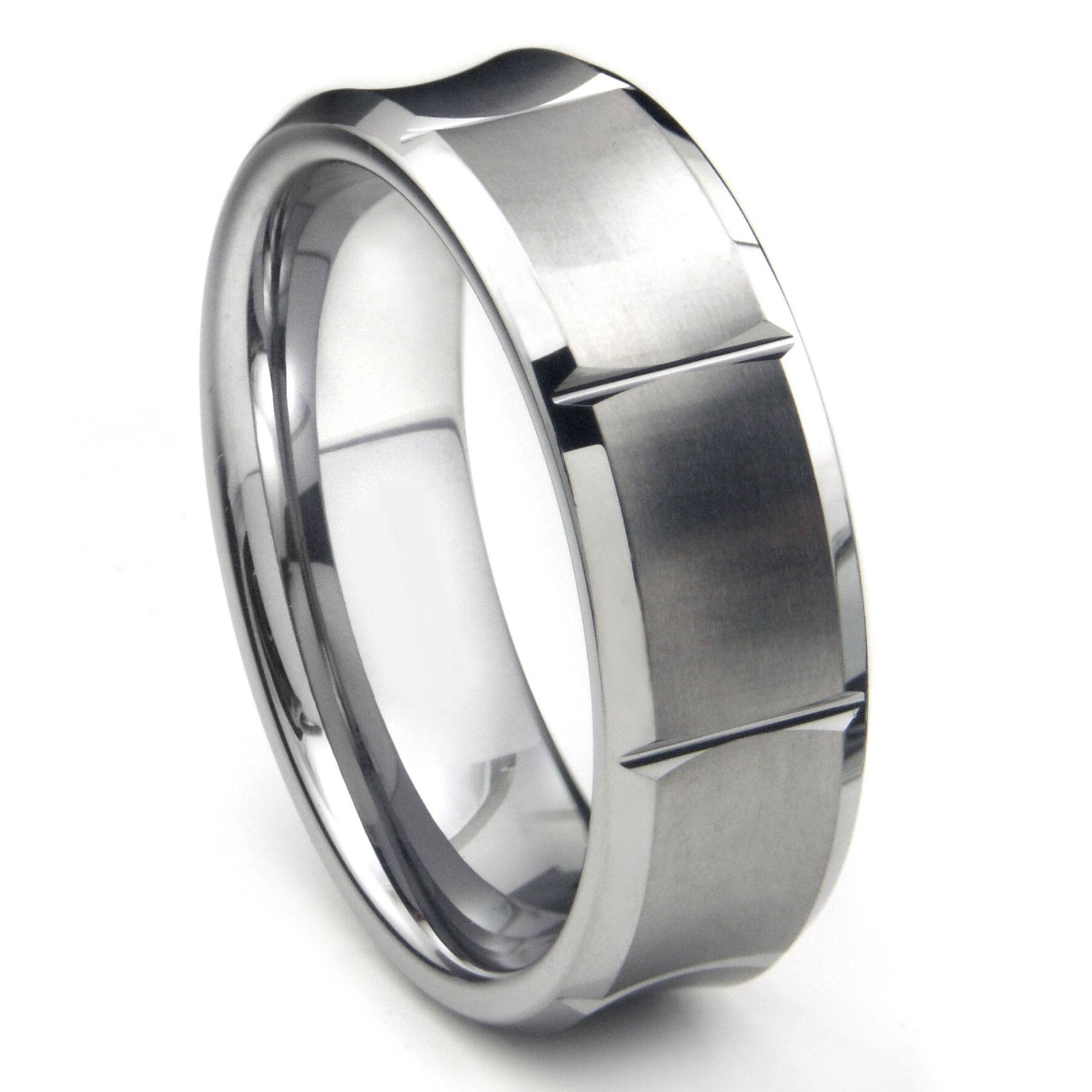 Tungsten Carbide Concave Wedding Band Ring W/ Horizontal Grooves With Tungsten Wedding Bands (View 7 of 15)