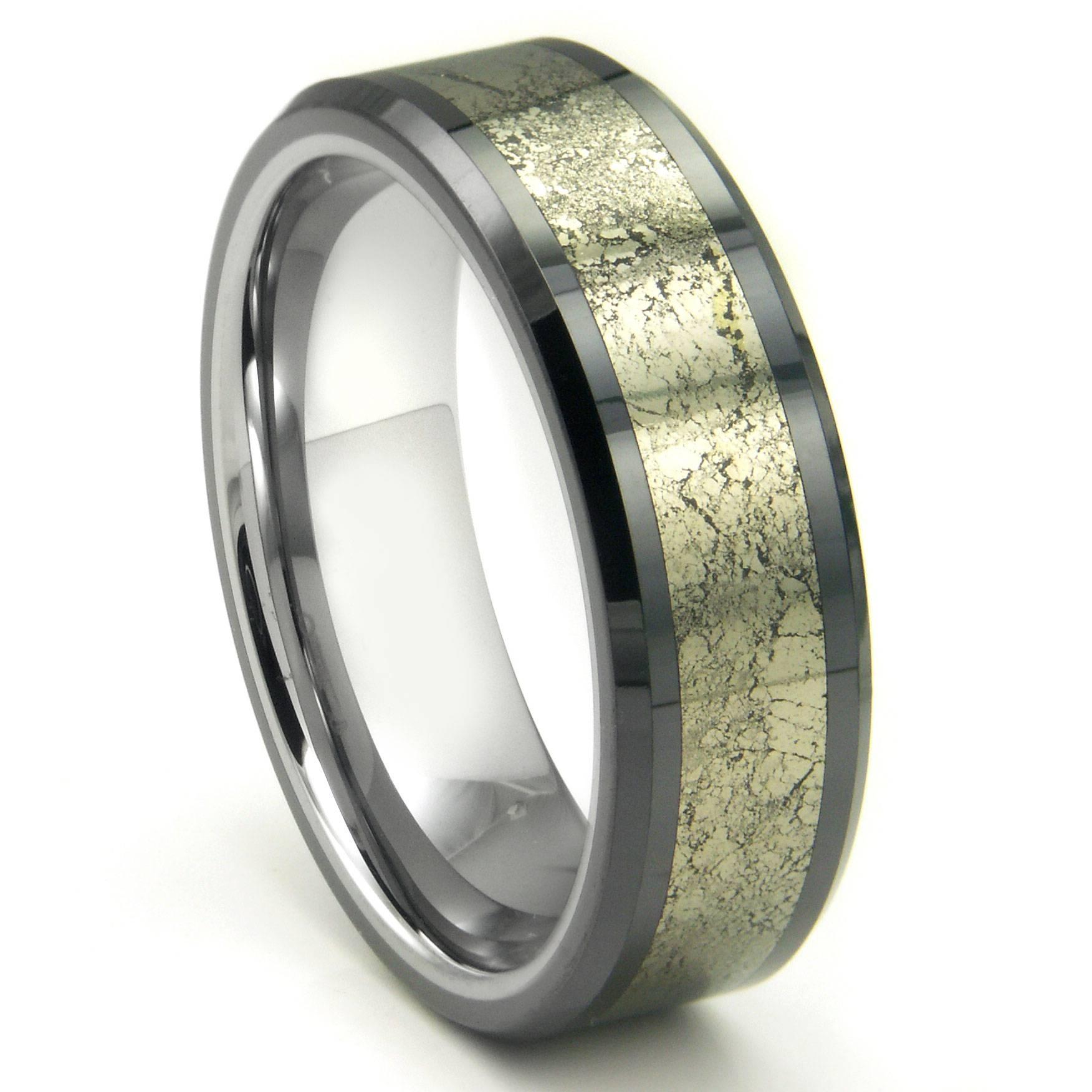 Tungsten Carbide Golden Meteorite Inlay Wedding Band Ring Regarding Gunmetal Wedding Bands (Gallery 2 of 15)