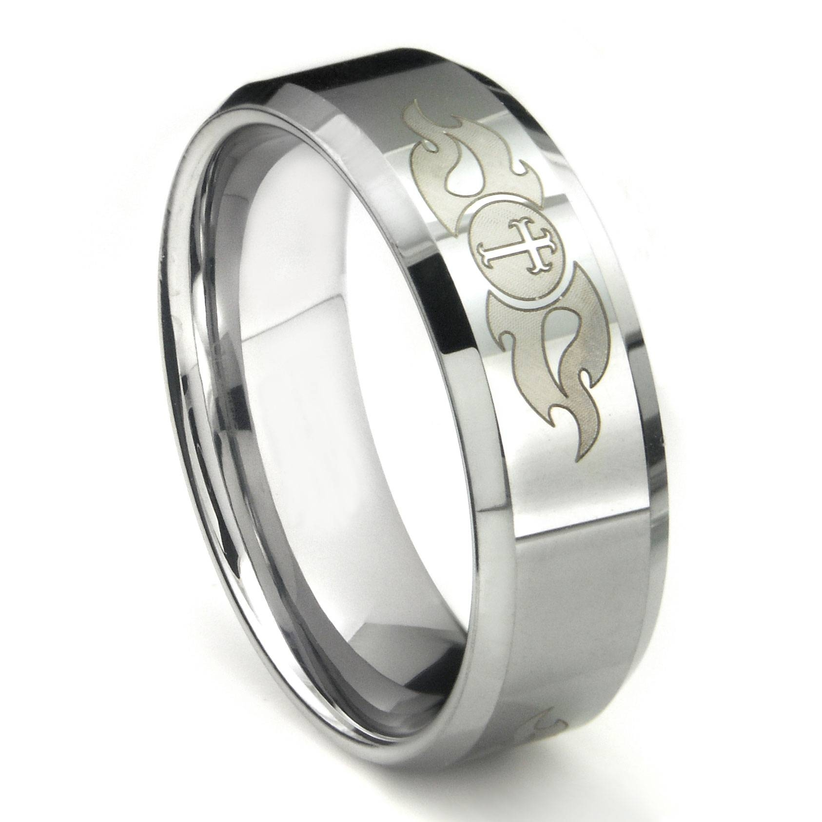 Tungsten Carbide Laser Engraved Fiery Cross Wedding Band Ring Throughout Engravable Titanium Wedding Bands (View 12 of 15)