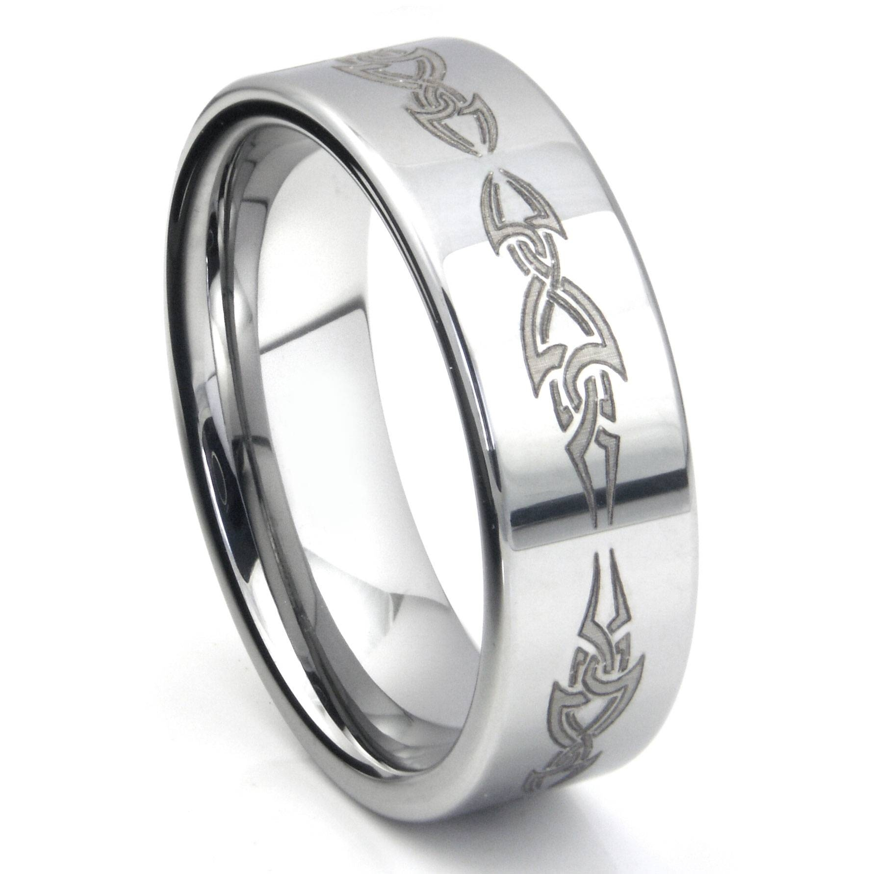 Tungsten Carbide Laser Engraved Tribal Wedding Band Ring With Regard To Tribal Engagement Rings (View 11 of 15)