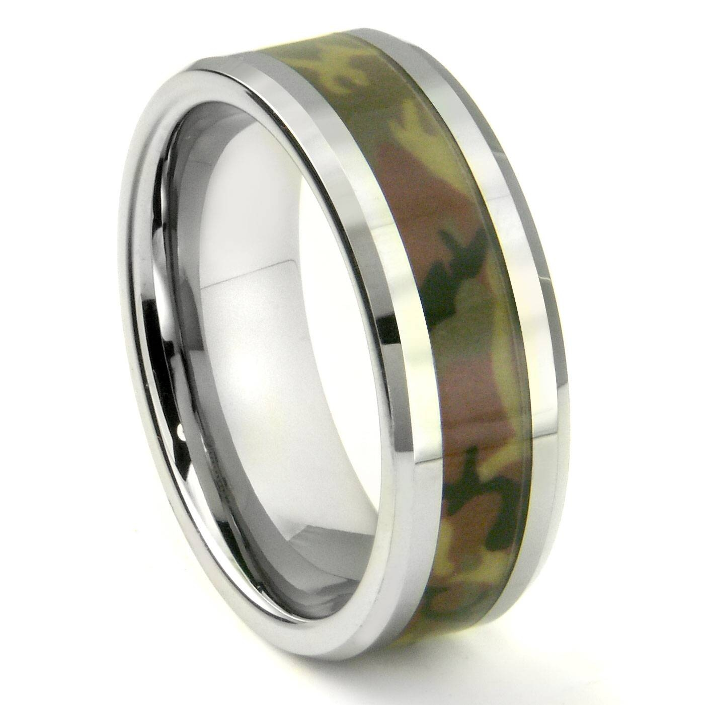 Tungsten Carbide Military Us Woodland Camouflage Wedding Ring Within Military Wedding Rings (View 7 of 15)