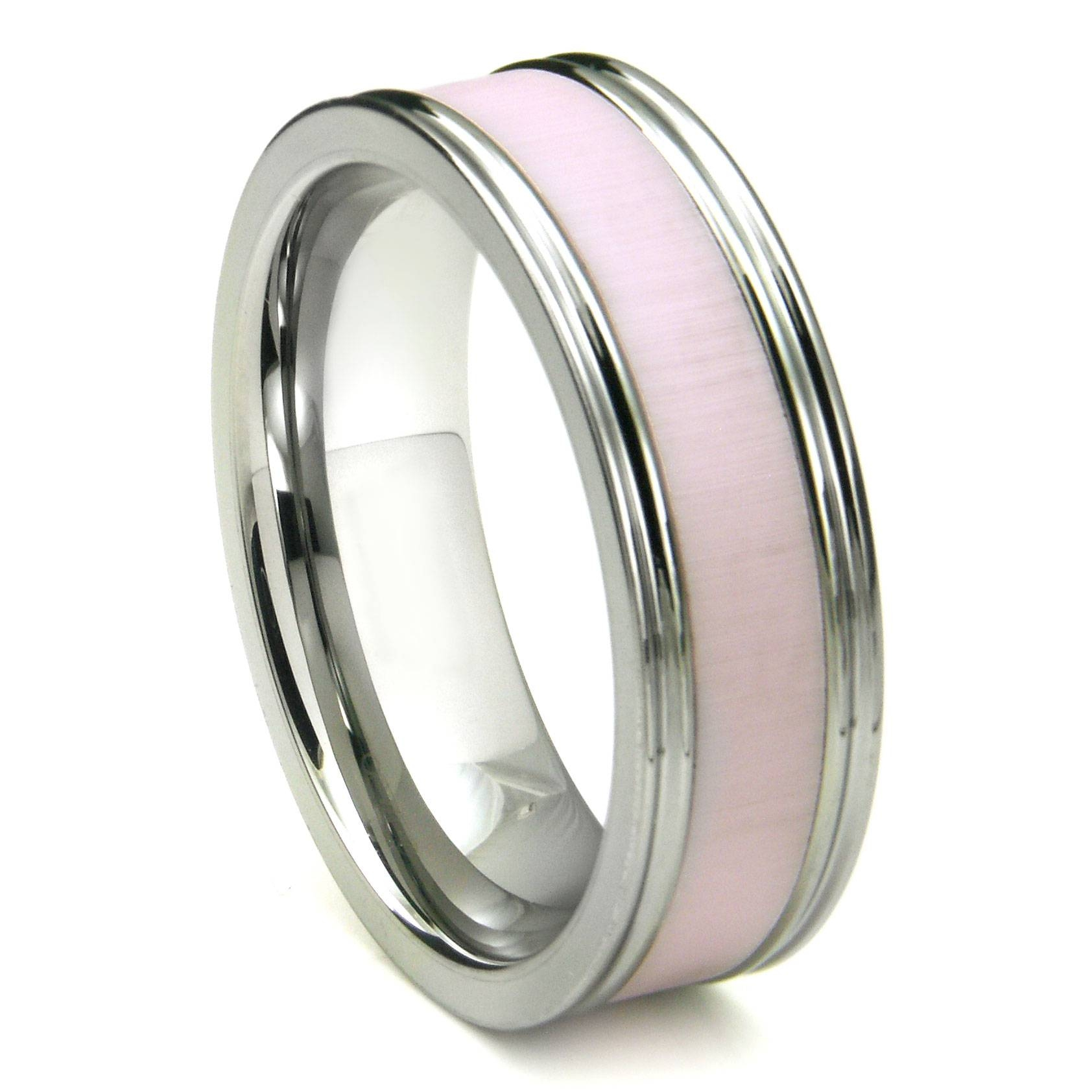 Tungsten Carbide Pink Ceramic Inlay Wedding Band Ring W With Regard To Ceramic Wedding Bands (View 10 of 15)