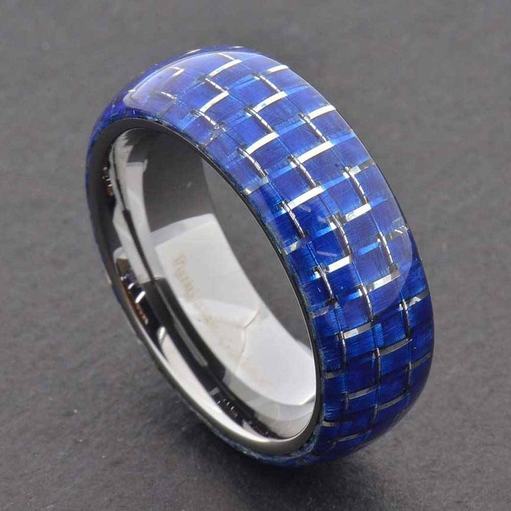 Tungsten Carbide Ring Comfort Fit Wedding Band Men Silver Blue Throughout Men's Black And Blue Wedding Bands (View 13 of 15)