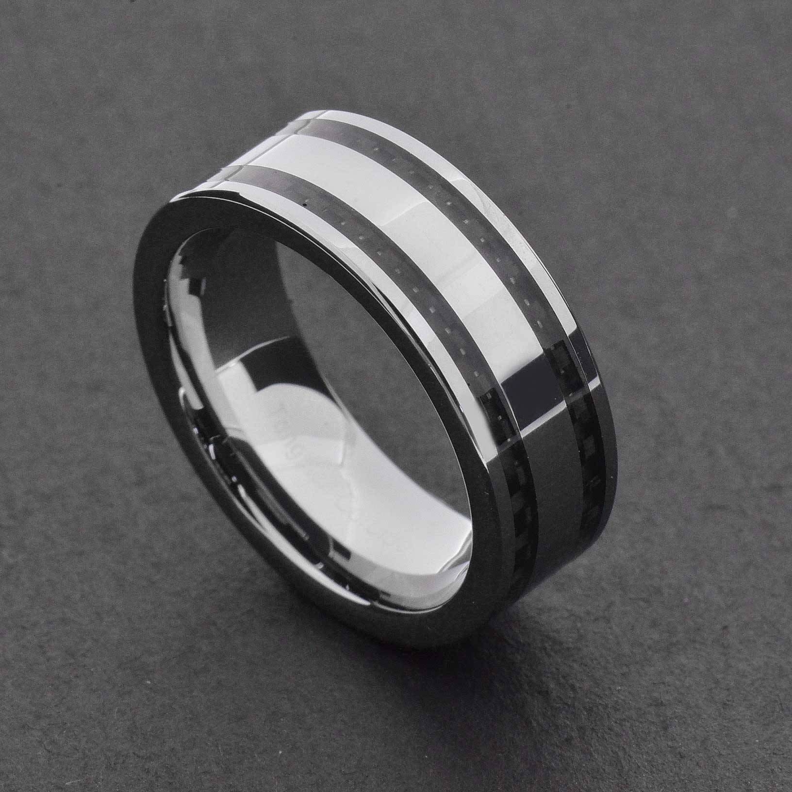 Tungsten Carbide Ring Comfort Fit Wedding Band Men Silver Blue With Regard To Men's Black And Blue Wedding Bands (View 6 of 15)