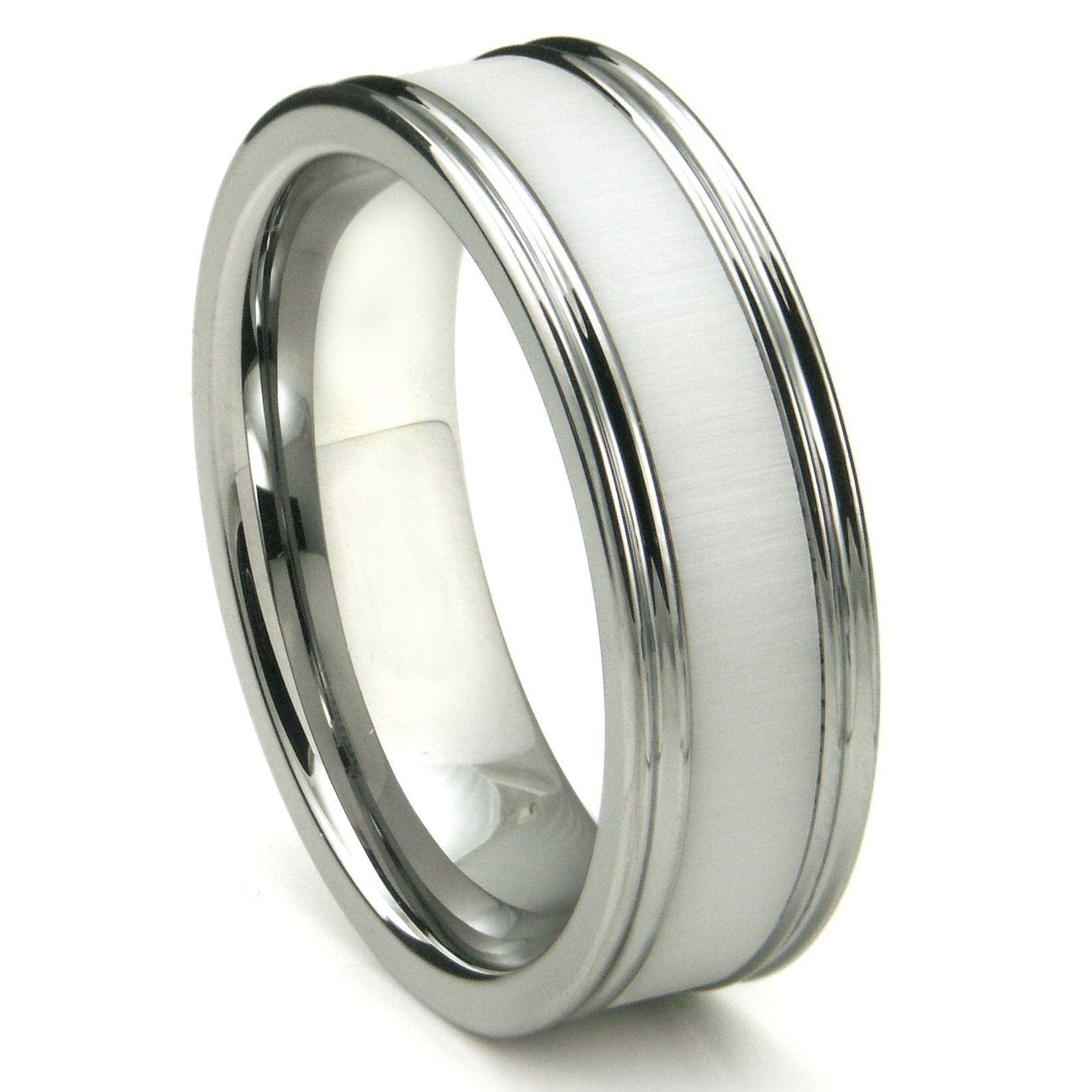 Tungsten Carbide White Ceramic Inlay Wedding Band Ring W In Strongest Metal Wedding Bands (View 14 of 15)