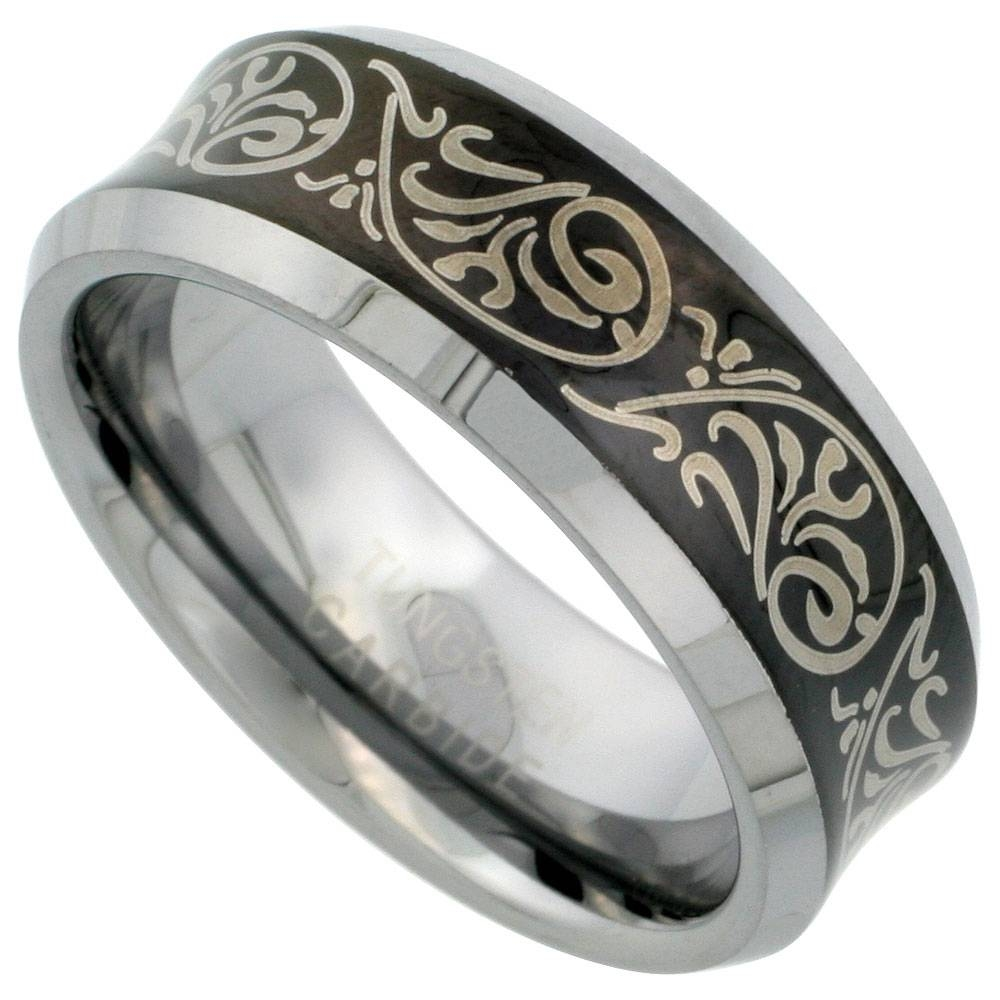 Tungsten Jewelry Wedding & Engagement Rings Blackened Finish Pertaining To Tribal Engagement Rings (View 12 of 15)