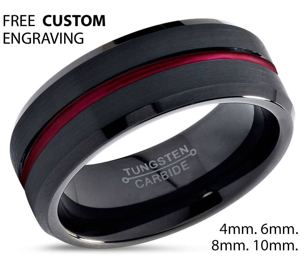 Tungsten Ring Mens Black Red Wedding Band Tungsten Ring Tungsten Regarding Black And Red Men's Wedding Bands (View 3 of 15)