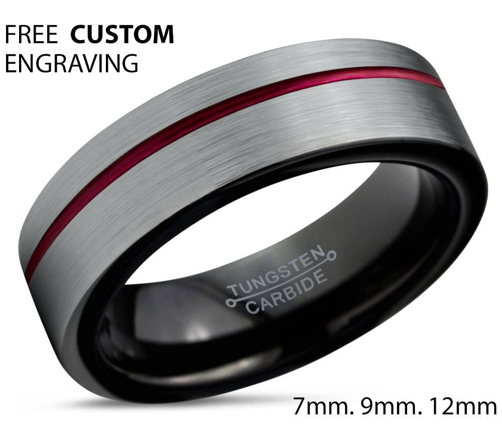 Tungsten Ring Mens Brushed Silver Black Red Wedding Band Tungsten Regarding Black And Red Wedding Bands (View 15 of 15)