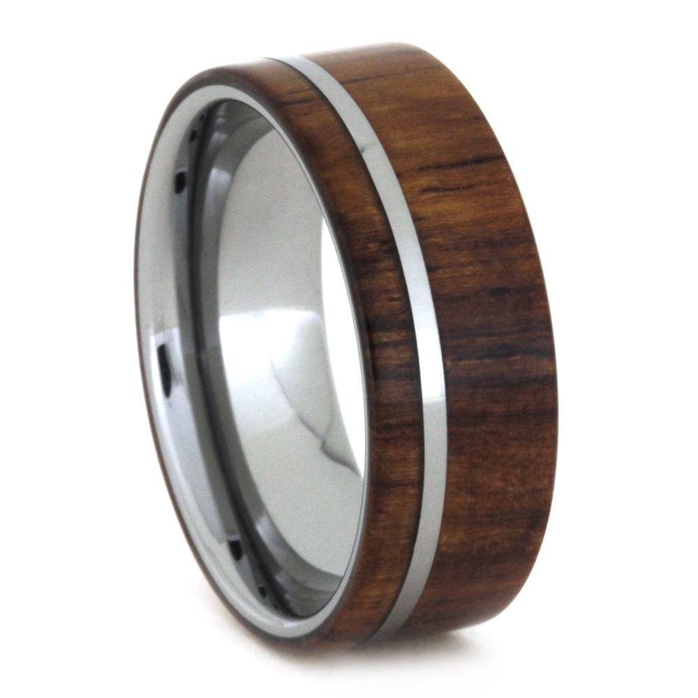 Tungsten Wedding Band With Kauri Wood Ring, Jewelryjohan Within Tungsten Wedding Bands (Gallery 177 of 339)