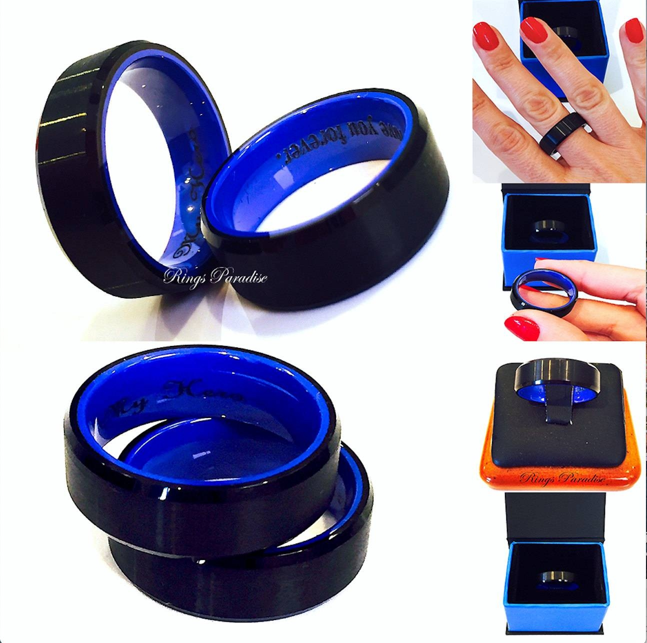 Tungsten Wedding Bands Men Engagement Ring Black & Blue Mens Throughout Mens 10Mm Tungsten Wedding Bands (View 15 of 15)