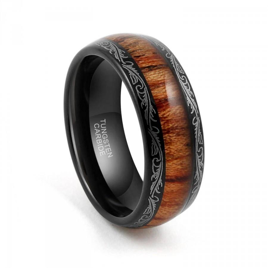 Tungsten Wedding Band,tungsten Carbide,tungsten Ring, 8Mm Black In Tungsten Wedding Bands With Wood Inlay (View 14 of 15)
