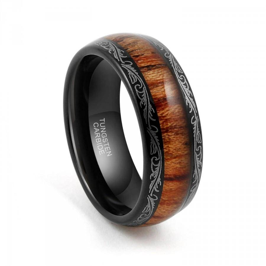 Tungsten Wedding Band,tungsten Carbide,tungsten Ring, 8mm Black Intended For Wood Inlay Men's Wedding Bands (View 12 of 15)