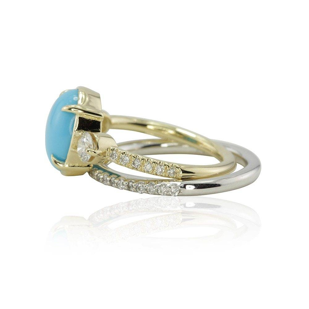Turquoise Engagement Ring With Diamond Accents And Wedding Band With Engagement Rings With 2 Wedding Bands (View 11 of 15)