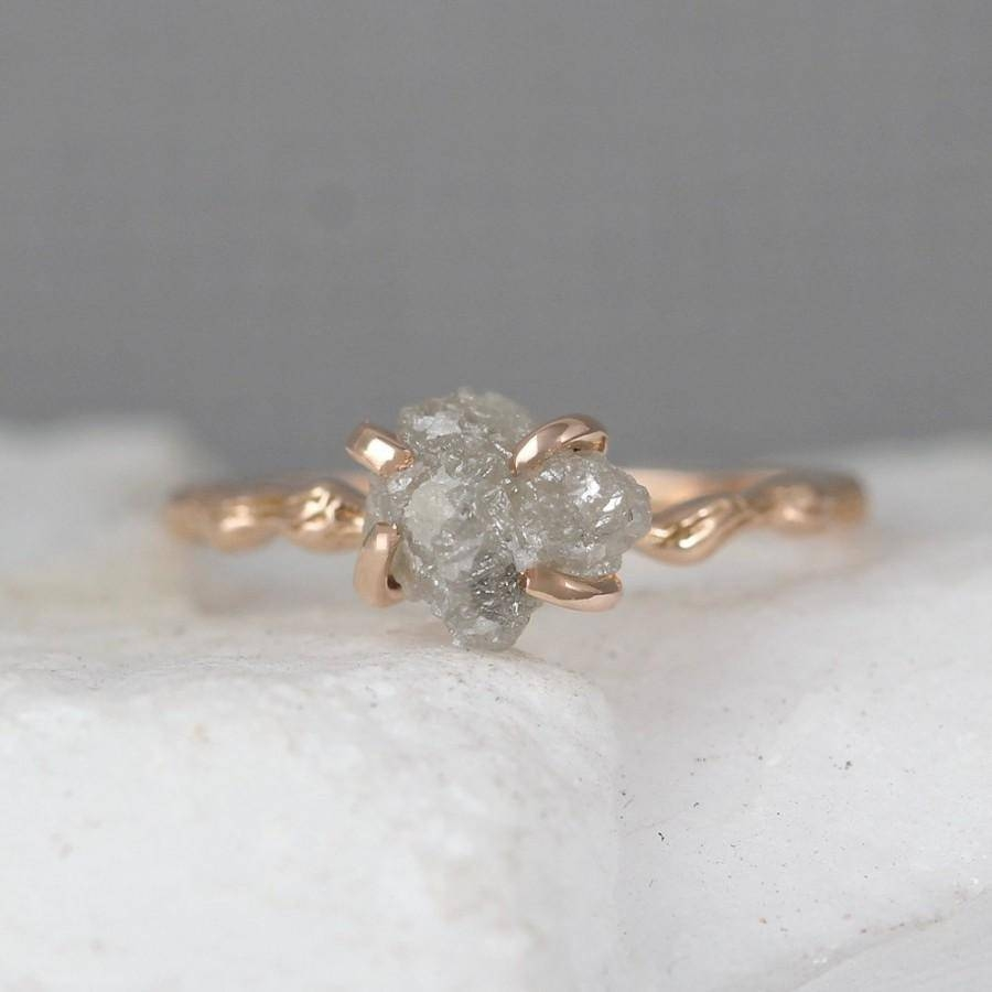 Twig Engagement Ring – 14K Rose Pink Gold Branch Rings – Raw Uncut Intended For Tree Branch Engagement Rings (View 11 of 15)
