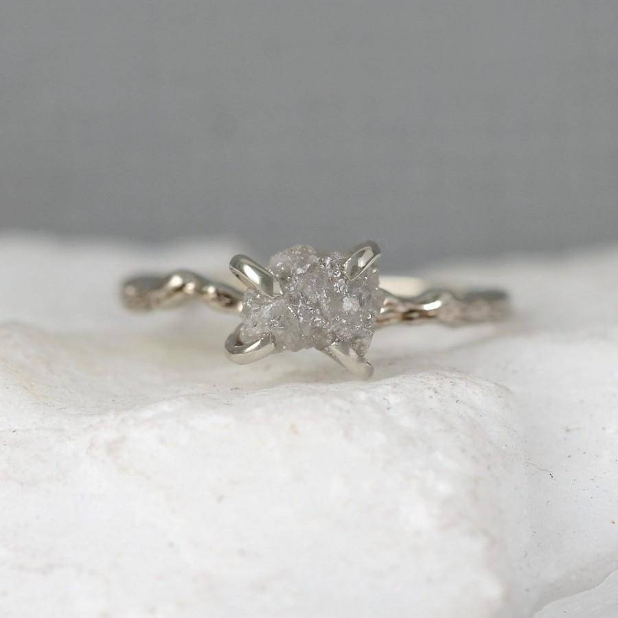 Twig Engagement Ring – Raw Uncut Rough Diamond Twig Ring – 14K Within Tree Branch Engagement Rings (View 12 of 15)