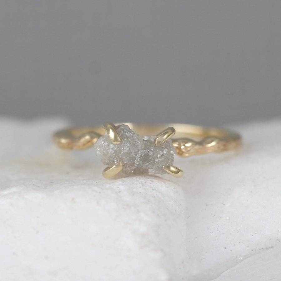 Twig Engagement Ring – Raw Uncut Rough Diamond Twig Ring – 14K Within Tree Inspired Engagement Rings (View 14 of 15)