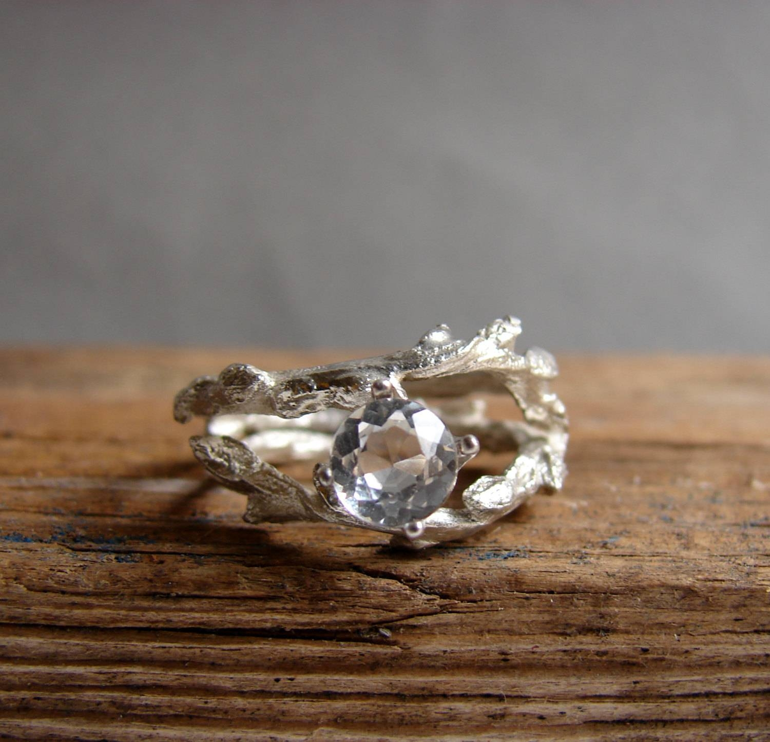 rustic rings gold moissanite leaf engagement twig listing ring il alternative nature fullxfull