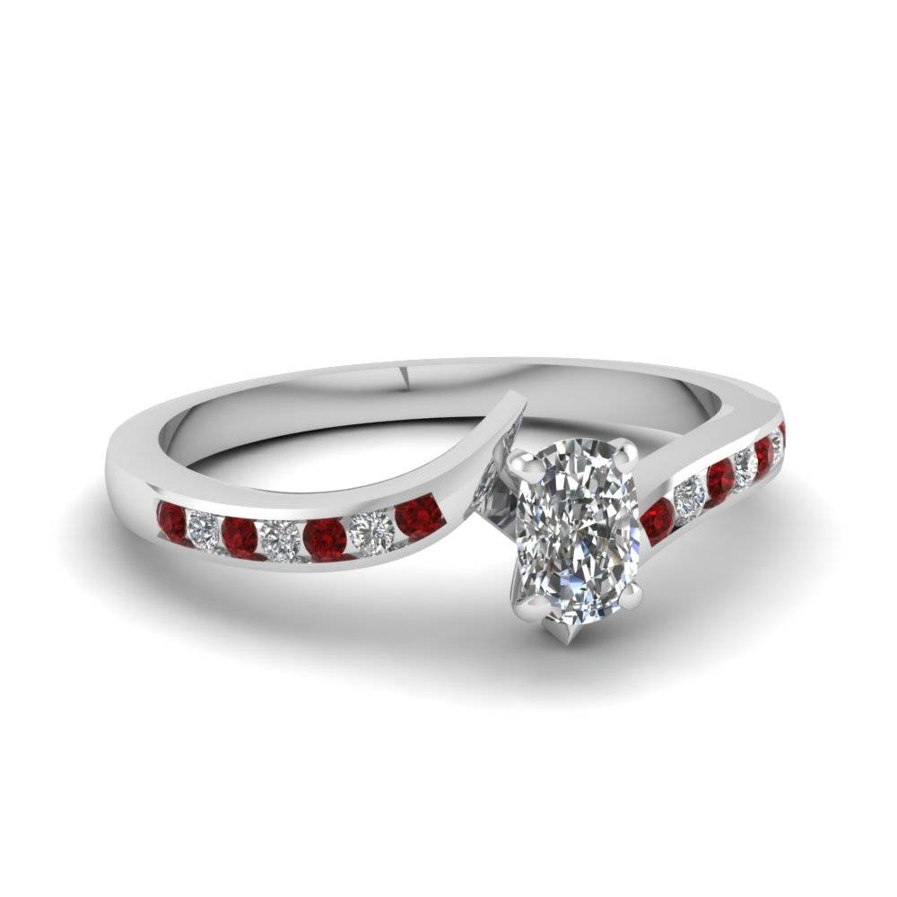 Twist Channel Cushion Diamond Ring With Ruby In 14K White Gold Within Engagement Rings With Ruby And Diamond (View 15 of 15)