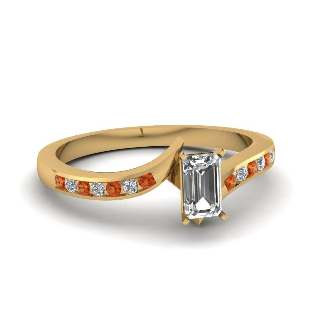 Twist Channel Emerald Cut Diamond Ring With Orange Sapphire In 14K Regarding Emerald Sapphire Engagement Rings (Gallery 14 of 15)