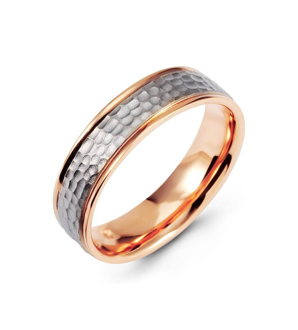 Two Tone Hammered 14k Rose White Gold Wedding Band Ring – Wedding For Rose And White Gold Wedding Rings (View 11 of 15)
