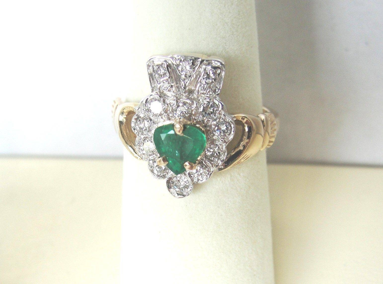 Ultimate 14K Yellow Gold Diamond & Emerald Claddagh Ringfacet Regarding Emerald Claddagh Engagement Rings (View 15 of 15)