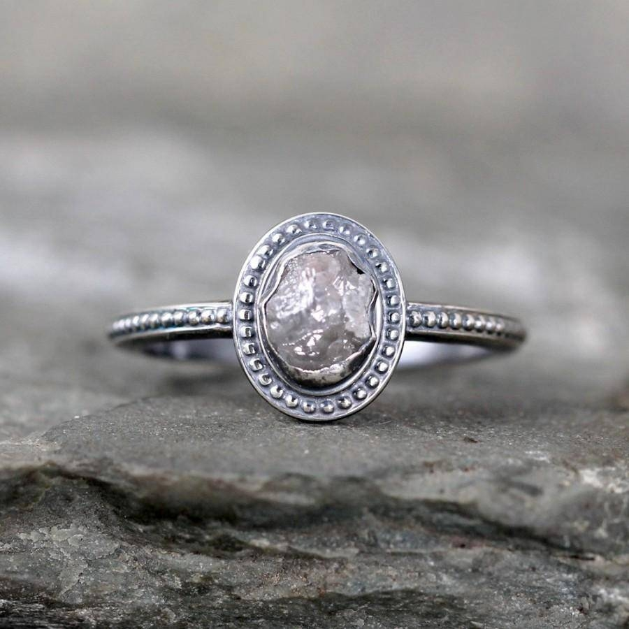 Uncut Diamond Ring – Raw Rough Diamond Engagement Rings – Sterling In Old Fashioned Style Wedding Rings (Gallery 13 of 15)