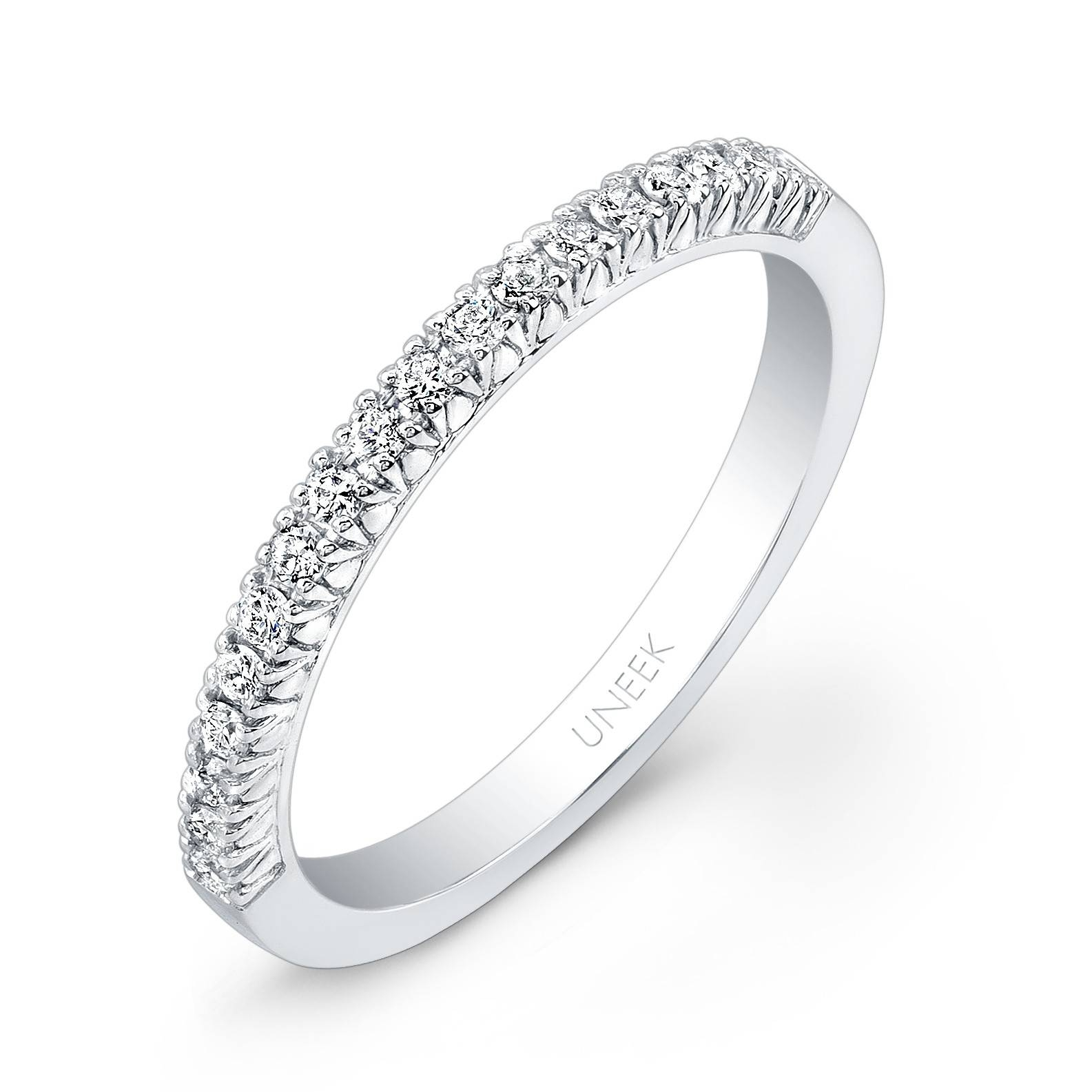 Uneek 18 Diamond French Pave Wedding Band In 14K W With Regard To French Pave Wedding Bands (View 15 of 15)