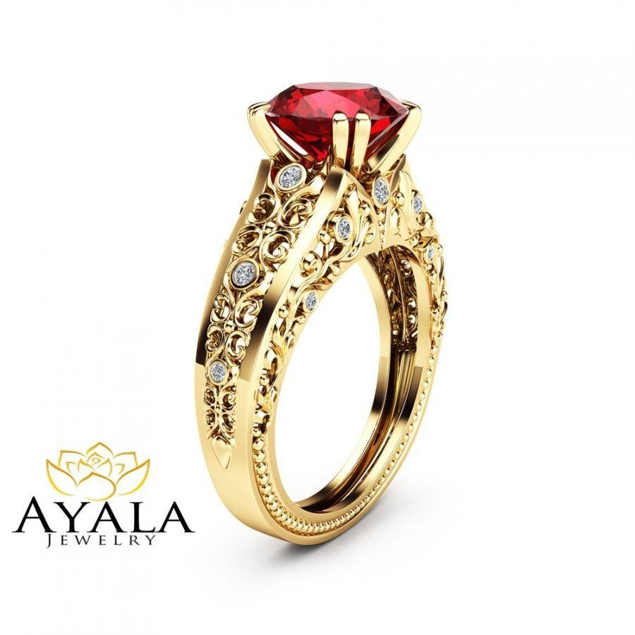 Unique 2 Carat Ruby Ring 14K Yellow Gold Alternative Ring Ruby With Regard To Ruby Engagement Rings Yellow Gold (View 14 of 15)