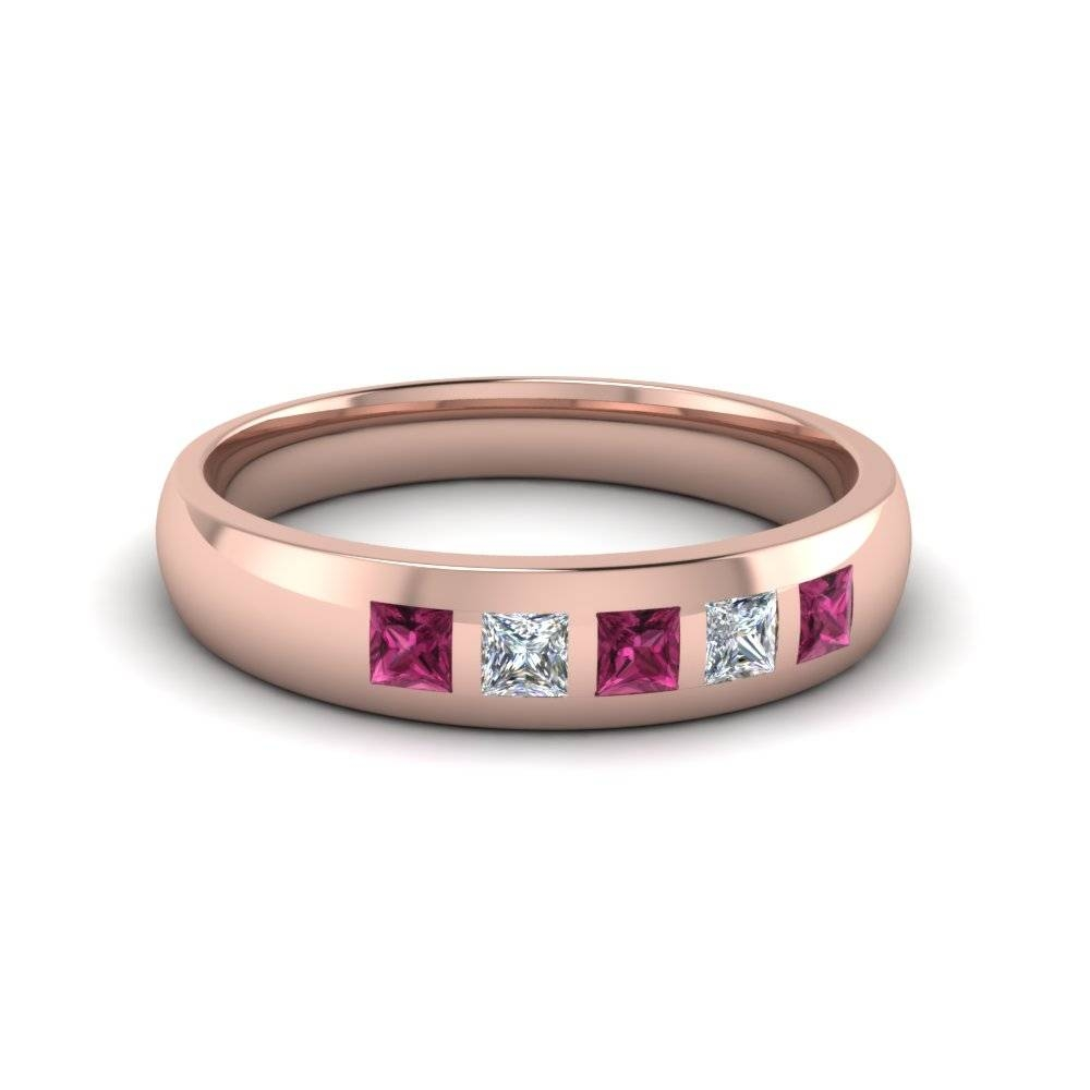 Unique And Affordable 14K Rose Gold Mens Wedding Band In Rose Gold Men's Wedding Bands With Diamonds (View 12 of 15)