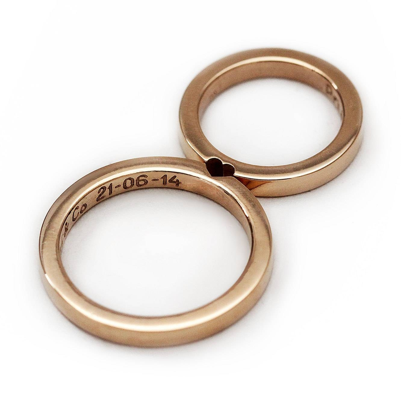 Unique Couple Ring Set Initials Ring Set Rose Gold Wedding For Couple Rose Gold Wedding Bands (View 14 of 15)