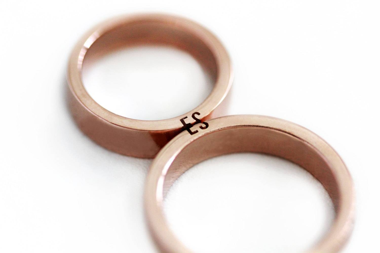 Unique Couple Ring Set Initials Ring Set Rose Gold Wedding Inside Couple Rose Gold Wedding Bands (View 15 of 15)